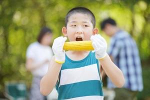 トウモロコシを食べている子供の写真
